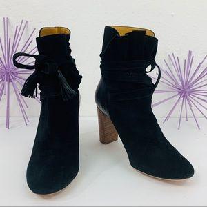 ba&sh / Black Leather Suede Tassel Ankle Tie Boot